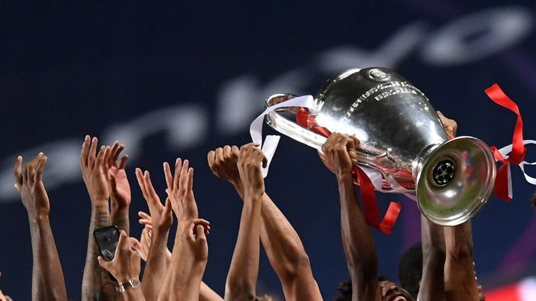Bayern Munich, who were not part of the Super League plans, celebrate winning last season's Champions League