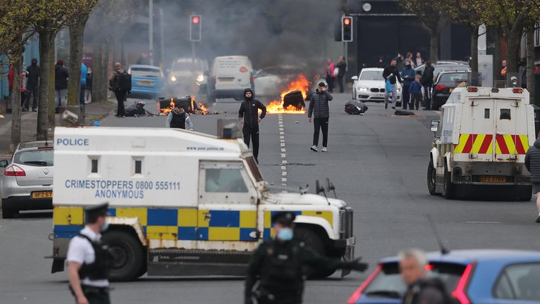 Police clash with loyalist protesters during further unrest on the Shankill Road in Belfast earlier this month