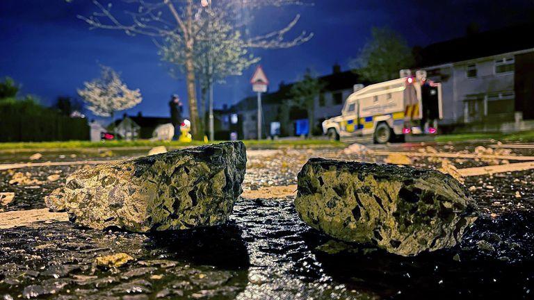 Bricks thrown at police in Carrickfergus near Belfast on Sunday