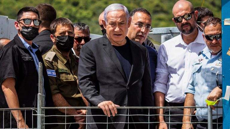 Israeli Prime Minister Benjamin Netanyahu visits the Jewish Orthodox pilgrimage site of Mount Meron