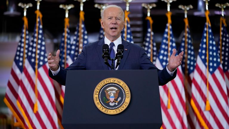 Biden described his plan as a 'once in a generation investment' Pic: AP