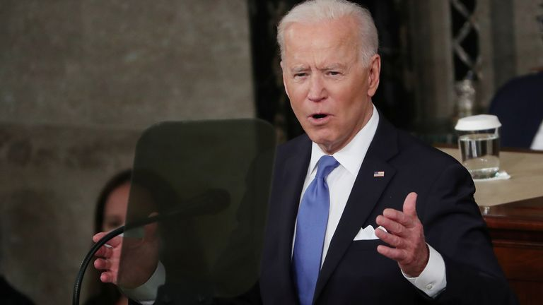 Joe Biden delivers his first address to a joint session of Congress in the House chamber of the U.S. Capitol in Washington, U.S., April 28, 2021