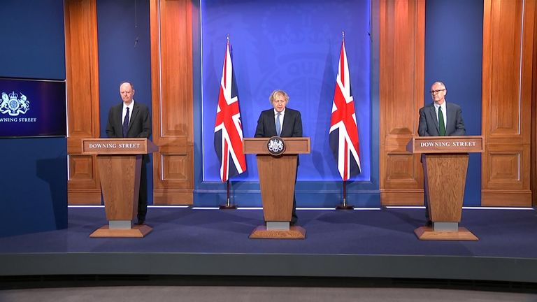 UK PM Boris Johnson speaking at 5 April press conference.