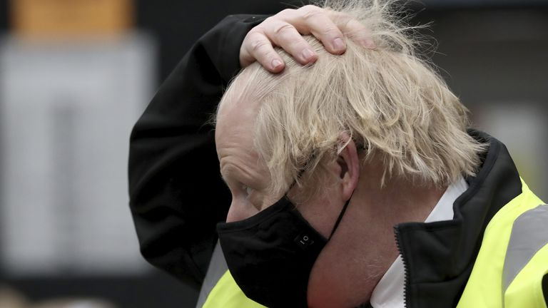 Prime Minister Boris Johnson during a visit to the B&Q store in Middlesbrough. Around two million of the UK's lowest-paid workers will receive a pay rise from Thursday with increases in statutory minimum wages. Picture date: Thursday April 1, 2021.