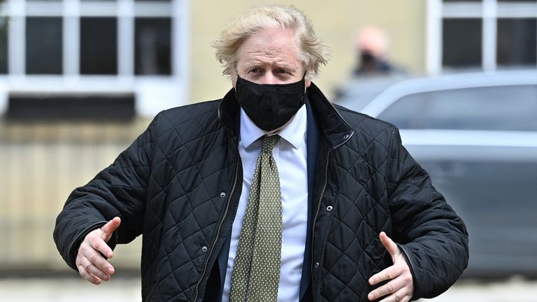 Boris Johnson is pictured in Truro on Wednesday