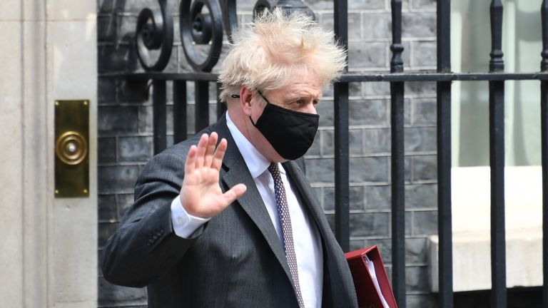 Prime Minister Boris Johnson leaves 10 Downing Street to attend Prime Minister's Questions
