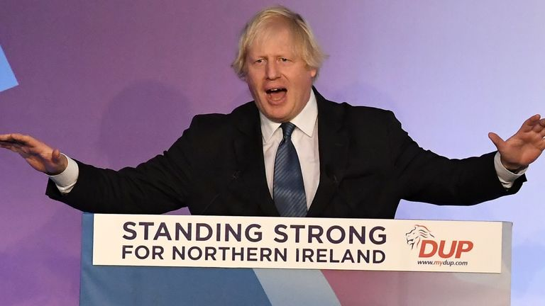 Boris Johnson at the DUP annual conference in 2018