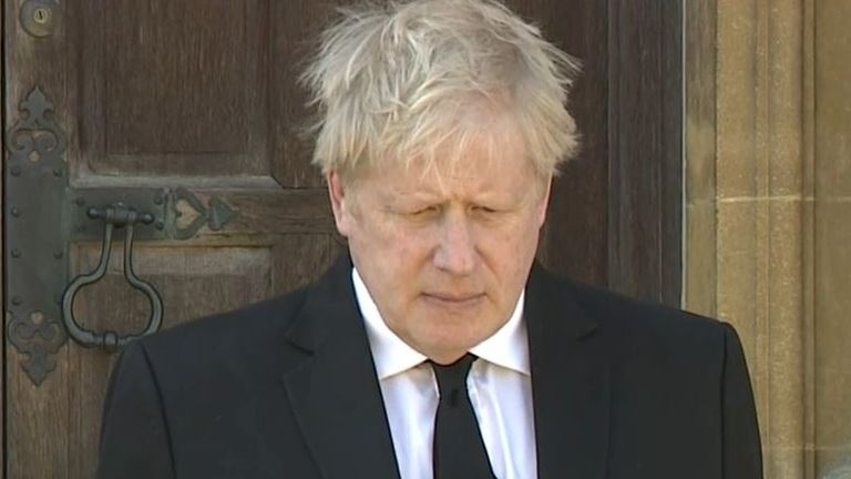 Boris Johnson observes silence for funeral of Duke of Edinburgh