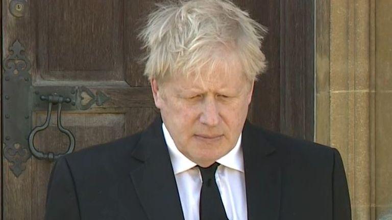 Boris Johnson observes silence for funeral of Duke of Edinburgh