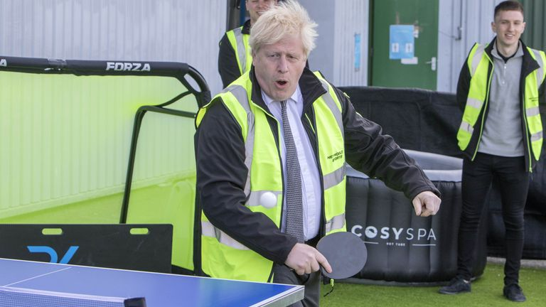 Prime Minister Boris Johnson plays table tennis during a visit to Next World Sports, in Wrexham. Picture date: Monday April 26, 2021.