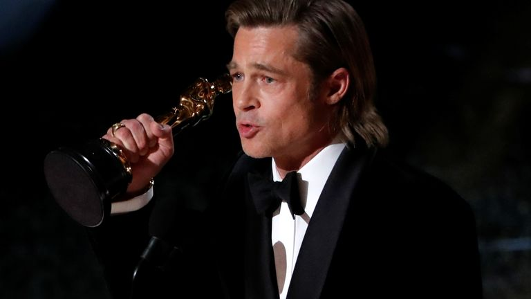 "Brad Pitt accepts the Oscar for Best Supporting Actor for ""Once Upon a Time in Hollywood"" at the 92nd Academy Awards in Hollywood, Los Angeles, California, U.S., February 9, 2020. REUTERS/Mario Anzuoni TPX IMAGES OF THE DAY"