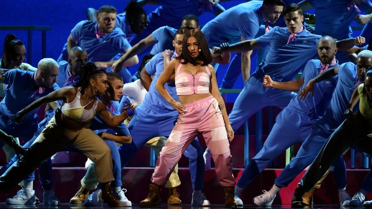 Mabel performs on stage at the Brit Awards 2020 in London. Pic: AP