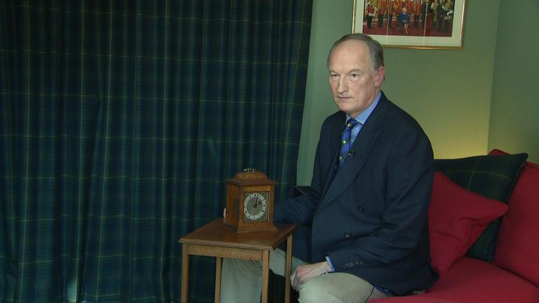 A clock presented to Alastair Bruce's family by the Queen and Prince Philip
