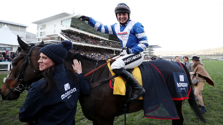 Jockey Bryony Frost celebrates after winning The Ryanair Steeple Chase on Frodon during St Patrick's Thursday of the 2019 Cheltenham Festival at Cheltenham Racecourse. Photo credit should read: David Davies/The Jockey Club via PA Images