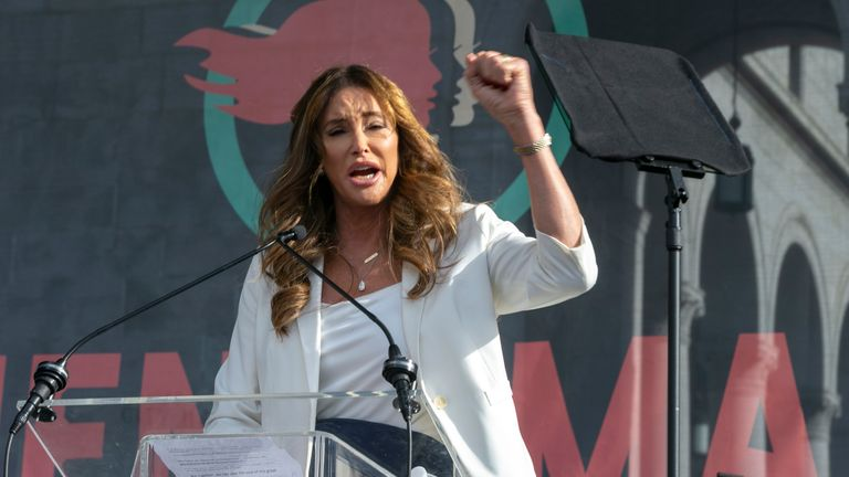 FILE - In this Jan. 18, 2020 file photo Caitlyn Jenner speaks at the 4th Women's March in Los Angeles.  Jenner has been an Olympic hero, a reality TV personality and a transgender rights activist. Jenner has been consulting privately with Republican advisers as she considers joining the field of candidates seeking to replace Democratic Gov. Gavin Newsom in a likely recall election later this year. (AP Photo/Damian Dovarganes,File)
