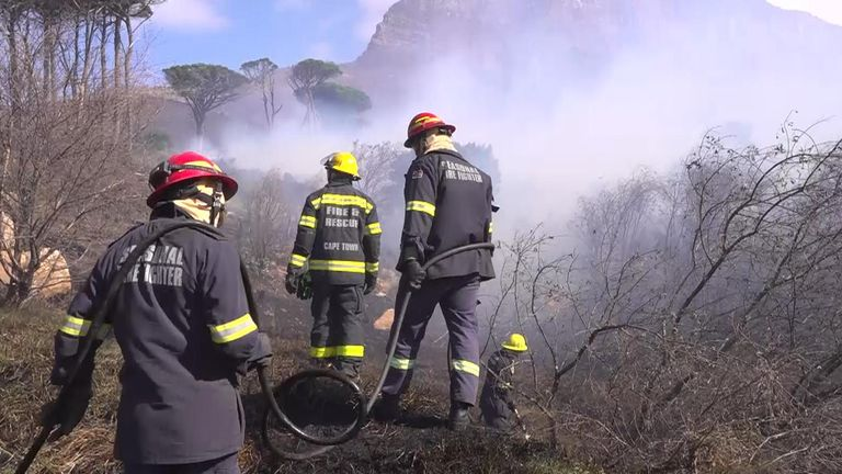 The fires are sweeping across the slopes of Table Mountain