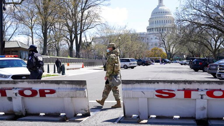 Troops stand guard on Capitol Hill. Pic: AP