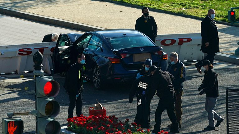 A car rammed a police barricade outside the U.S. Capitol building on Capitol Hill in Washington