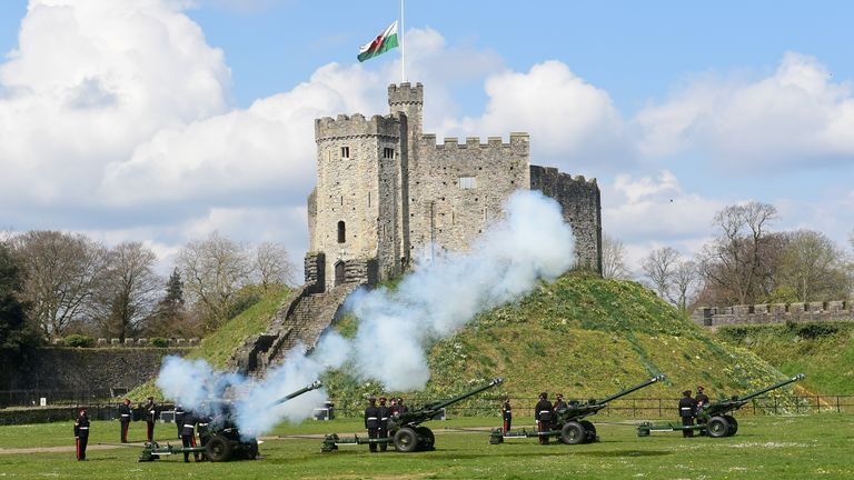 The first shot during a gun salute at Cardiff Castle