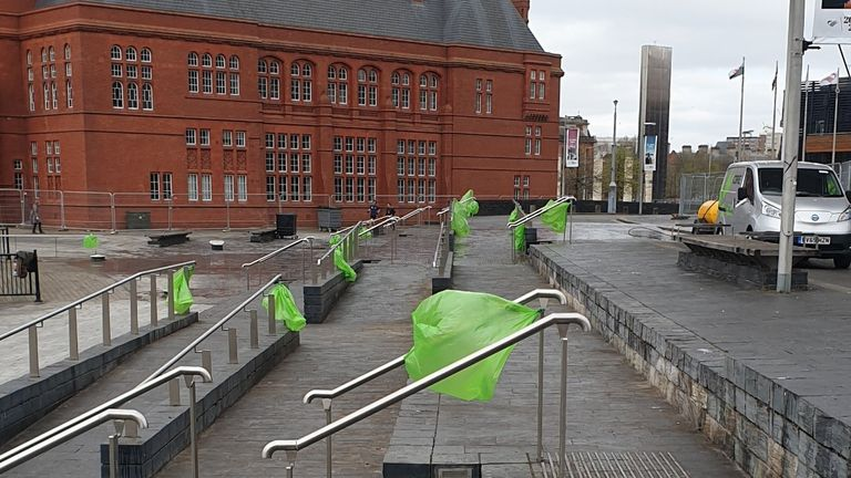 Cardiff bay after the council cleared up litter left by revellers on Good Friday. Pic: @cardiffcouncil