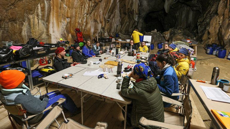 Participants in the study during their time in the cave. Pic: AP