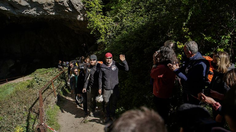 The group emerge from the Lombrives cave