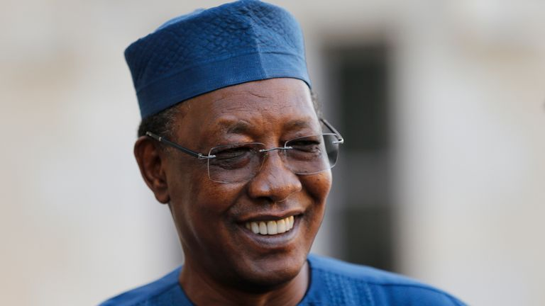 Chad's President Idriss Deby Itno, seen in France in 2020, has died