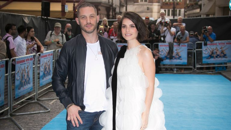 Charlotte Riley and Tom Hardy at the UK premiere of Swimming With Men in central London, 2018. Pic: AP