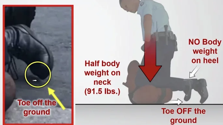 A diagram showed how Chauvin's boot was off the ground during George Floyd's arrest