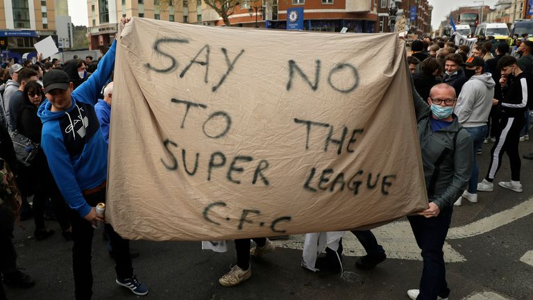 Chelsea fans outside Stamford Bridge ground protest against the planned European Super League. Pic: AP