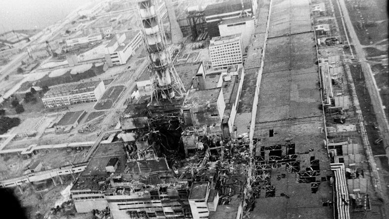 The Chernobyl nuclear power plant pictured in May 1986, following the accident the previous month. Pic: AP/Vladimir Repik