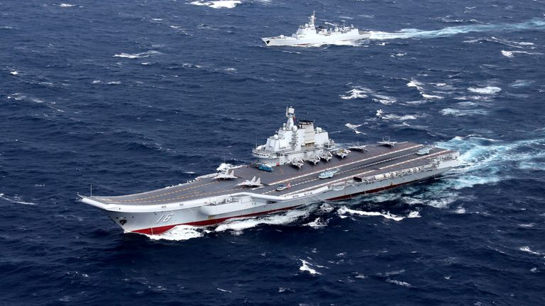 China has this week sent its Liaoning aircraft carrier on a course to the east of Taiwan. File pic