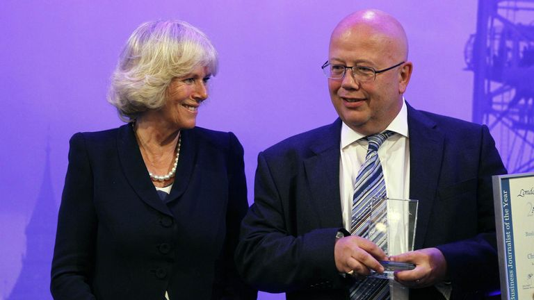 Chris Blackhurst was presented with a journalist award by the Duchess of Cornwall in 2011