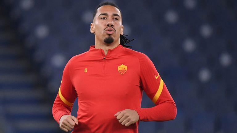 Serie A - Lazio v AS Roma - Stadio Olimpico, Rome, Italy - January 15, 2021 AS Roma's Chris Smalling during the warm up before the match REUTERS/Alberto Lingria/File Photo