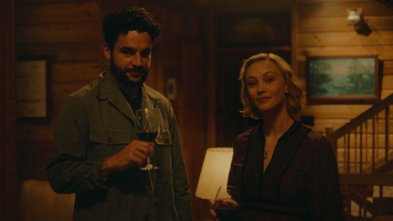 Christopher Abbott and Sarah Gadon starred alongside Plaza. Pic: Black Bear - released on digital 23 April