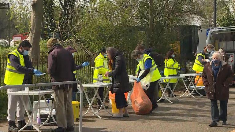 Surge COVID testing in Clapham, London