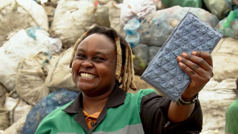 Nzambi Matee's company turns waste plastic into paving slabs. Pic: UN Environment Programme