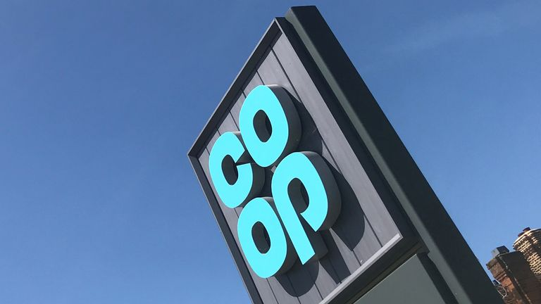 A Co-op logo is seen at a supermarket in Chiswell Green, following the outbreak of the coronavirus disease (COVID-19), Chiswell Green, Britain, May 28, 2020. REUTERS/Matthew Childs