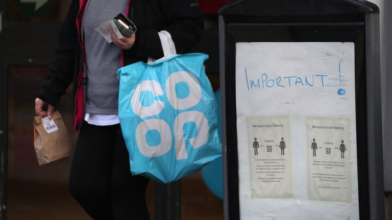 Social distancing signage at the Co Op in Callander, Perthshire as the UK continues in lockdown to help curb the spread of the coronavirus.