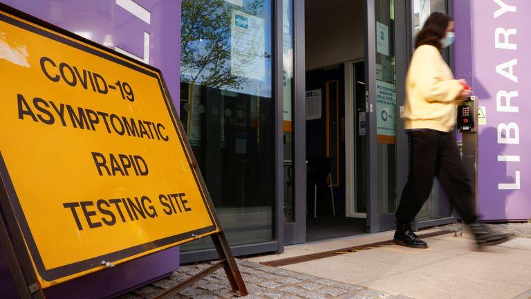 A coronavirus testing centre in Barnet, London