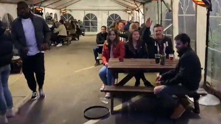 Footage issued by the Oak Inn of the pub's beer garden in Coventry
