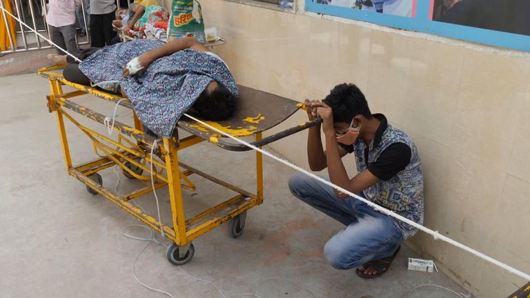 Scene outside a Delhi hospital during the COVID crisis