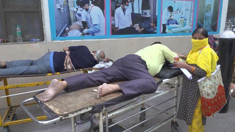 Scene outside a Delhi hospital during the COVID crisis.