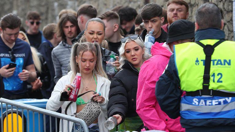 Revellers arrive at Circus nightclub in Bramley-Moore Dock, Liverpool