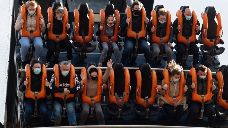 People enjoying Alton Towers in Staffordshire