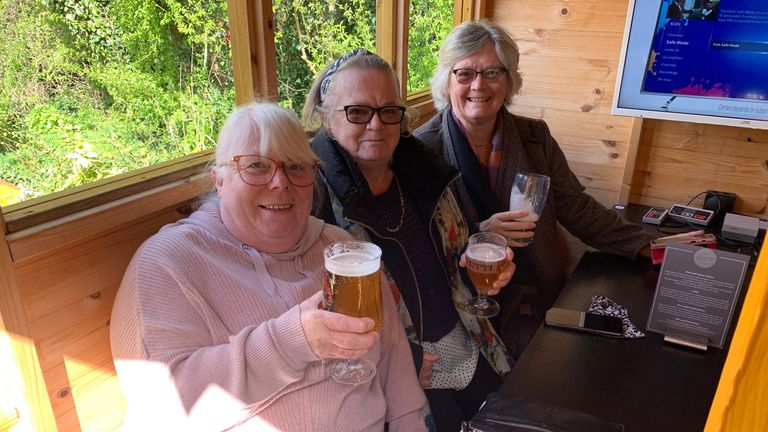 Sisters Jacquline, Janet and Linda together at a pub in Stockton-on-Tees for the first time since before Christmas. 'We hope people follow the rules so we can keep meeting up like this,' they said