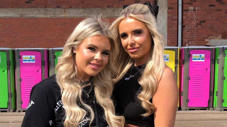 Clubbers Ashleigh and Katie arrive for the event at Liverpool's The Circus nightclub to test safe re-opening for venue after COVID lockdown