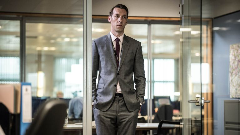 Craig Parkinson as Dot 'the Caddy' Cottan in series three of Line Of Duty. Pic: BBC/World Productions/Steffan Hill