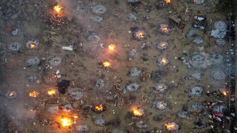 A mass cremation of coronavirus victims in New Delhi