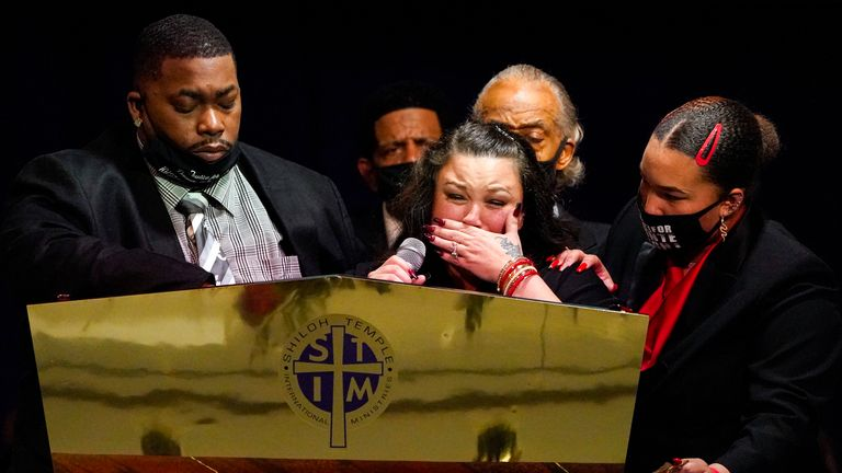 Daunte's parents Katie and Aubrey Wright cry as the speak during his funeral. Pic: Associated Press